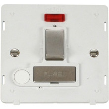 Click SIN552PWSS INGOT 13A Fused Sw. Conn. Unit With F/O Insert & Neon - White / St. Steel