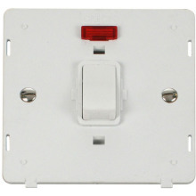 Click SIN623PW 20A 1 Gang DP Switch With Neon Insert - White