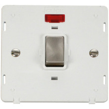 Click SIN723PWBS INGOT 20A 1 Gang DP Switch With Neon Insert - White / Brushed Stainless