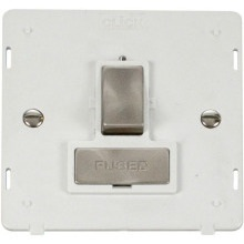 Click SIN751PWBS INGOT 13A Fused Switched Connection Unit Insert - White / B. Stainless
