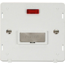 Click SIN753PWBS INGOT 13A Fused Conn. Unit Insert & Neon - White / Brushed Stainless