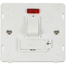 Click SIN852PW 13A Fused Switched Connection Unit With Neon (Lockable) Insert - White