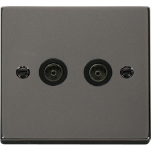 Click VPBN066BK Twin Coaxial Socket Outlet