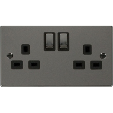 Click VPBN536BK 2 Gang 13A DP 'Ingot' Switched Socket Outlet