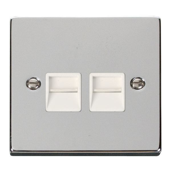 Click VPCH126WH Twin Telephone Socket Outlet Secondary