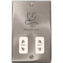 Click VPSC100WH Dual Voltage Shaver Socket Outlet 115/230V