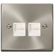 Click VPSC126WH Twin Telephone Socket Outlet Secondary