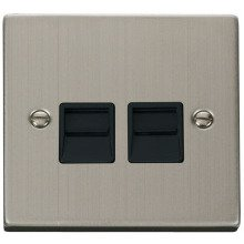 Click VPSS121BK Twin Telephone Socket Outlet Master
