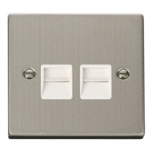 Click VPSS121WH Twin Telephone Socket Outlet Master
