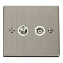 Click VPSS157WH 1 Gang Satellite & Isolated Coaxial Socket Outlet