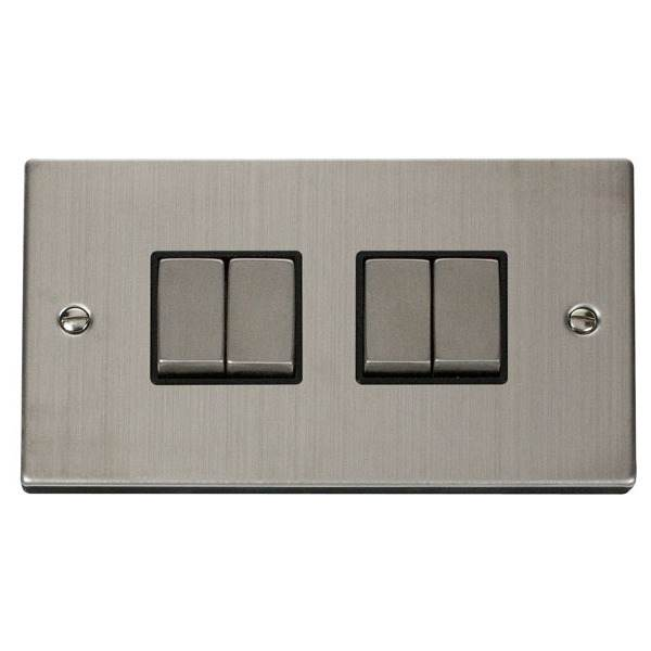 Click VPSS414BK 4 Gang 2 Way 'Ingot' 10AX Switch