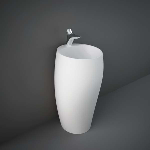 Cloud Free-Stand Wash Basin 50cm 1Tap Hole Matt White