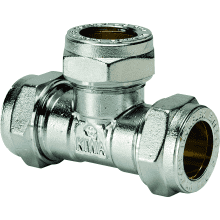 Compression Equal Tee CxCxC 15mm Chrome Plated