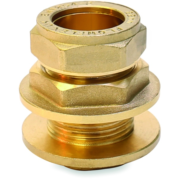 Compression Straight Flanged Tank Connector 15mm