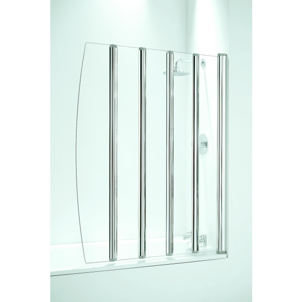 Coram Frameless Folding 5 Panel 1060mm   White/Plain Glass