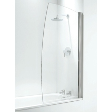 Coram Frameless Sail Bath Screen 800mm  Plain Glass/White