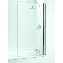 Coram Frameless Square Bath screen 800mm Plain Glass/White