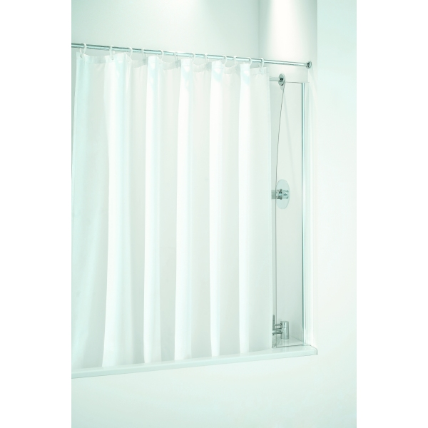 Coram Shower - Bathscreen for use with a Shower Curtain 250mm Plain Glass/Chrome
