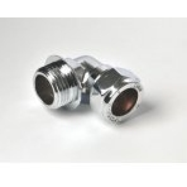 "Elbow Parallel Male 15mm X 1/2"" Chrome Plated"
