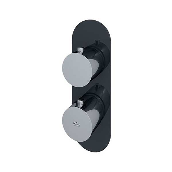Feeling Round Single Outlet Therm Concealed Shower Valve Blk