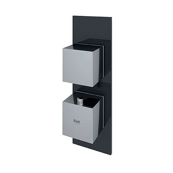 Feeling Square Single Outlet Therm Concealed Shower Valve Blk
