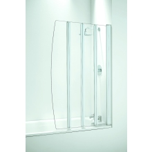 Frameless Four Panel Folding Screen 865mm Plain Glass White