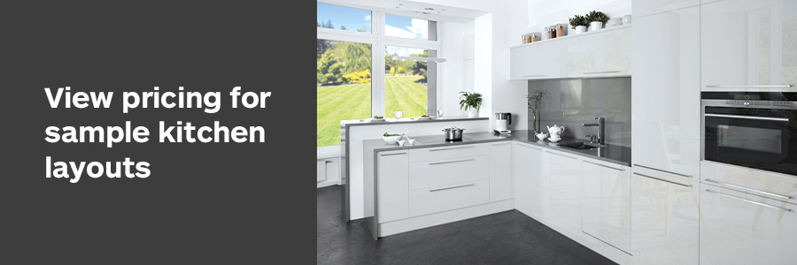 View Sample Prices for 3 Tisélo Kitchen Layouts