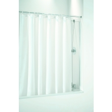 Coram Shower - Bathscreen for use with a Shower Curtain 250mm Plain Glass/White