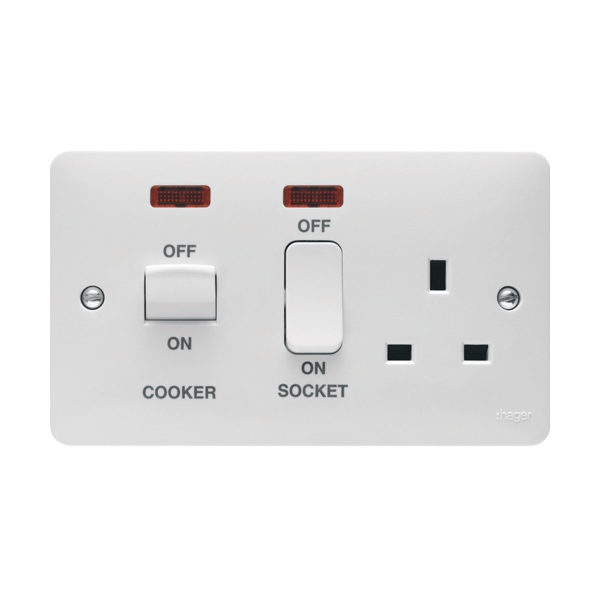Hager WMCC50N 45A Cooker Control Unit With LED Indicator