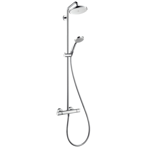 hansgrohe croma 220 showerpipe with shower arm swivelling. Black Bedroom Furniture Sets. Home Design Ideas