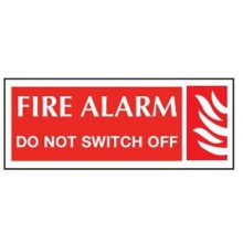 HC60WR Sign Fire Alarm Do Not Switch Off 80x35mm Pk5