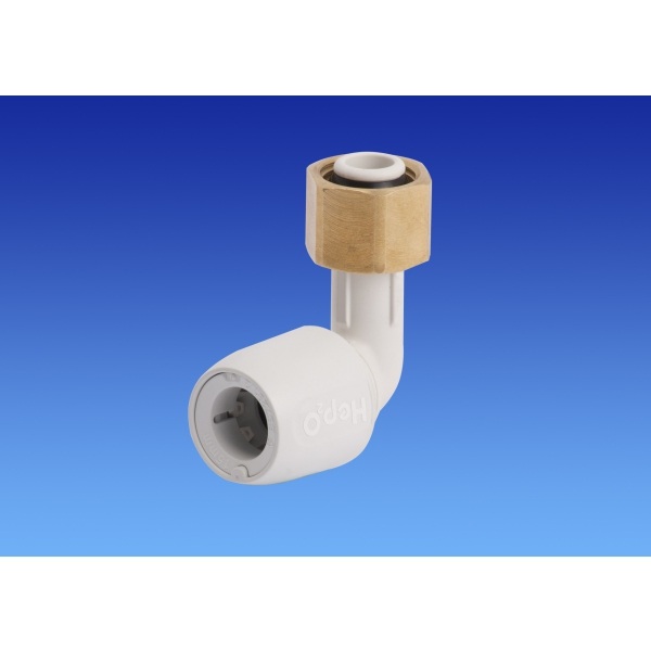 "Hep2o Bent Tap Connector 15mm x 1/2"" White"