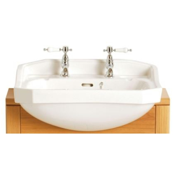 Heritage Granley Semi-Recessed Basin White Medium 1 Taphole White Medium