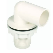Hunter O/Flow O226 22mm White Bent Tank Connector