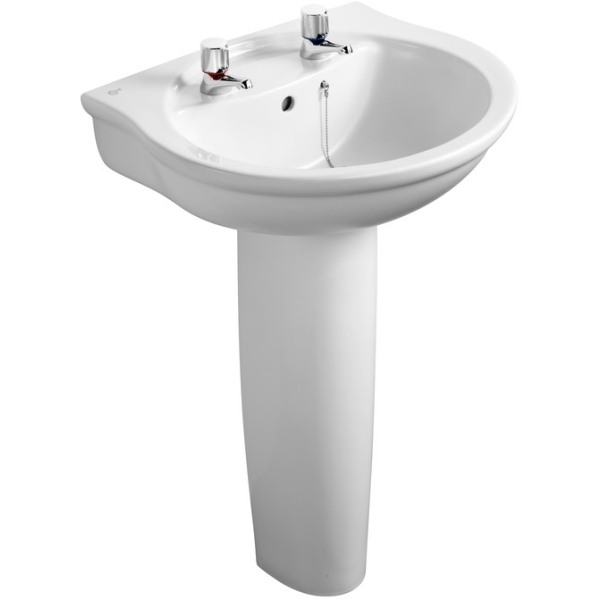 Ideal Standard Alto Pedestal Basin 55cm Pedestal Basin Two Taphole