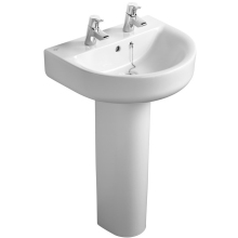 Ideal Standard Concept Arc 55cm Basin to be used with a Pedestal or Furniture Two Tapholes