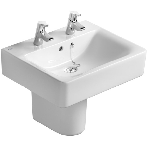 Ideal Standard Concept Cube 55cm Basin to be used with a Pedestal or Furniture 55cm Two Tapholes