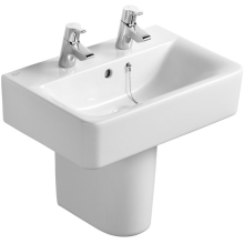 Ideal Standard Cube 55cm Short Projection Pedestal Basin Two Taphole