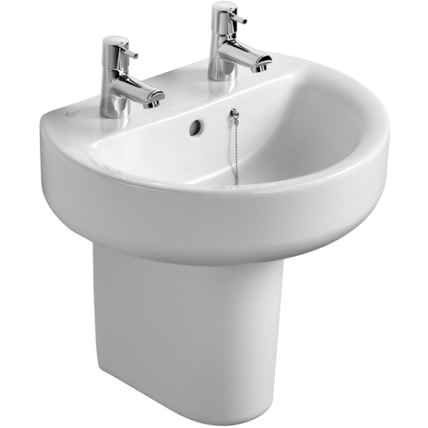 Ideal Standard Sphere 50cm Pedestal or Furniture Basin 50cm Two Tapholes
