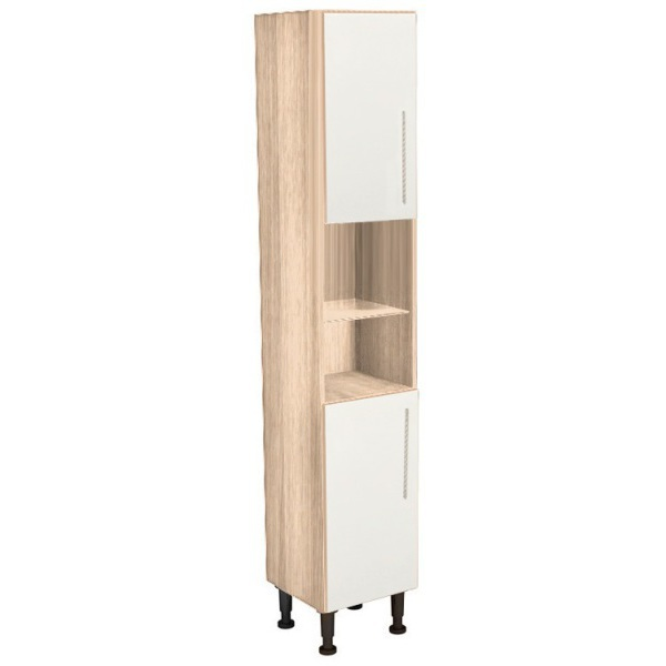 Vio Tall Unit 300 x 290 x 835mm Eden Ivory Gloss Natural Oak