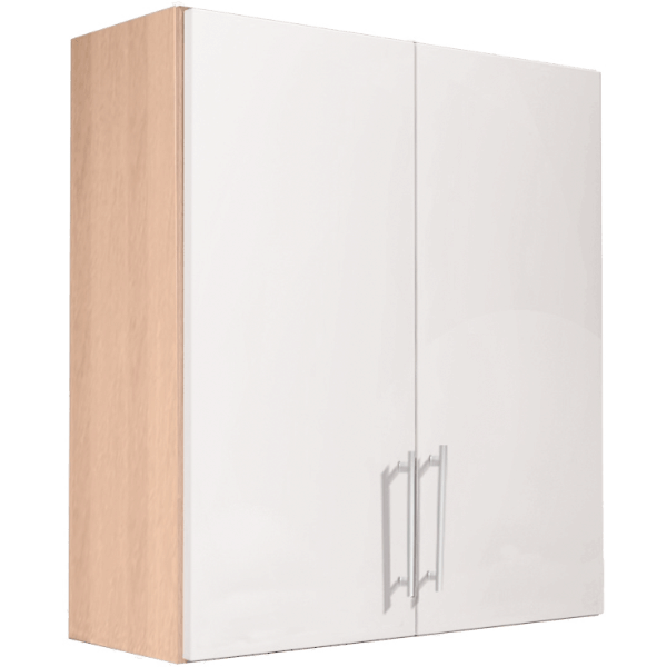 Vio Double Door Wall Unit 500 x 175 x 660mm Core Ivory Gloss Natural Oak