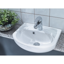 Lecico Atlas 400mm Semi Recessed Basin 1 Tap Hole White