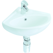 Lecico Atlas Corner Basin 405mm 2 Taphole White