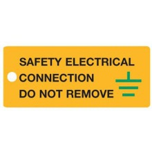 LF50YBG  Sign Safety Tag Rigid 80x35mm Pk5