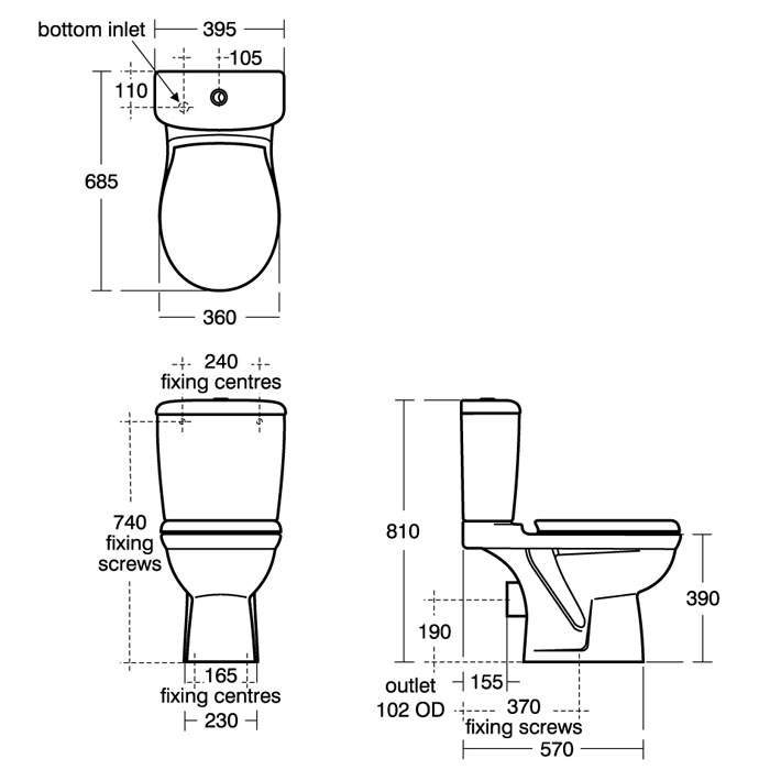 Ideal Standard Alto Close Coupled Cistern With Dual Flush