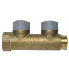 Male Female 2 Port Single Sided Unvolved Manifold Brass 15mm