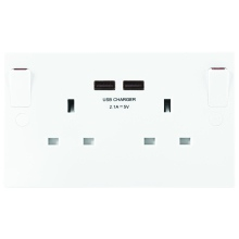 Nexus 922U-01 13A 2 Gang Switched Socket Outlet With USB