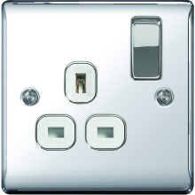 Nexus Metal Polished Chrome 13A Socket Outlet