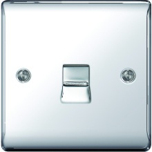 Nexus Metal Polished Chrome 1G Single Telephone Outlet