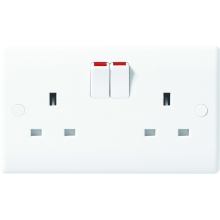 Nexus Moulded White 13A Double Pole Switched 2 Gang